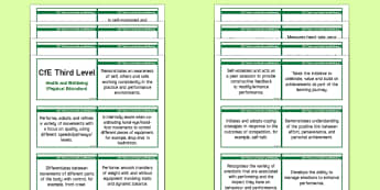 Third Level Health and Wellbeing (Physical Education) Lanyard-Sized Benchmarks - CfE Benchmarks, tracking, assessing, progression, health and wellbeing, HWB, Curriculum for Excellen
