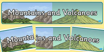 Mountains and Volcanoes Display Banner - mountains, volcanoes, display