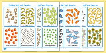Finding Half and a Quarter Worksheet / Activity Sheet, worksheet