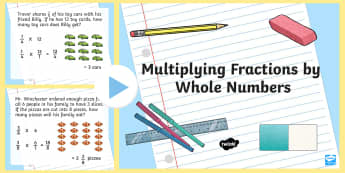 Multiplying Fractions by Whole Numbers PowerPoint - multiplication, repeated addition, fractions, whole numbers, mixed numbers, improper fractions, comm