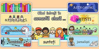 Când intri în această clasă - Decor pentru ușă - când intri, în această clasă, decor, clasă, exploratori, arheologi, scriitori, matematicieni, artiști, astronomi, oameni de știință, meserii, motivațional, dezvoltare personală, materiale, materiale di