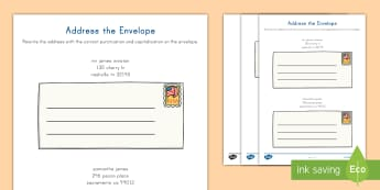 Address the Envelope Activity Sheet - worksheet, Punctuation, Capitalization, English, Language, friendly letter, mail, send a letter, let