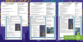 KS1 New Year Differentiated Reading Comprehension Activity English/Hindi - 31st, 1st, December, January, resolution, celebration, new, new year, Embankment, London, Big Ben, S