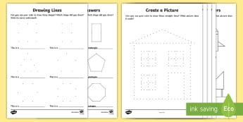 Create A Shape Using A Ruler Activity Sheets - shapes, dotted, lines, picture, create, make, square, triangle, rectangle, pentagon, hexagon, octago