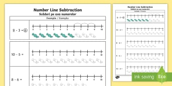 Subtraction From 10 Number Line Activity Sheet English/Romanian - Worksheet, numberline, subtract, substraction, suntraction, subtrction, sutraction, subrtaction, act