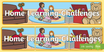 Home Learning Challenges Display Banner  - Read at home challenge banner with border - display lettering - General Display Primary Resources, D