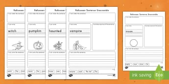 Halloween Themed Sentence Unscramble Worksheet / Activity Sheets - Halloween, english, writing, unscramble, cut outs, handwriting, worksheets