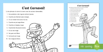 Carnival Clown Reading and Colouring Sheet French - mardi gras, festivities, events, France, costumes, party, festival
