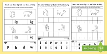 \'ig\' Onset and Rime Differentiated Activity Sheets - EYLF, Literacy, phonological awareness, onset and rime, cvc words, worksheets, english, kindergarten