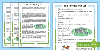 The Terrible Trip Up Differentiated Story - Sports Day, P.E., comprehension, Race, Fiction, Teamwork, Values