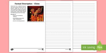 A Diverse and Connected World - China Descriptive Writing Activity Sheet - Geography, A Diverse and Connected World, English, Description, Text Types, China, creative writing,