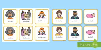 Meine Familie Memory Karten - Kartenspiel, meine Familie, Wortschatz, Vokabeln, große Familie, Eltern, Großeltern, ,German