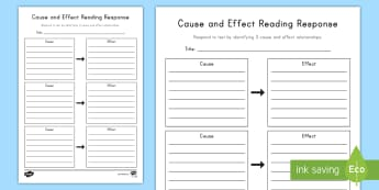 Cause and Effect Worksheet / Activity Sheet - Events, Cause, Effects, Reading, Reading Response, Independent Reading, Critical Thinking