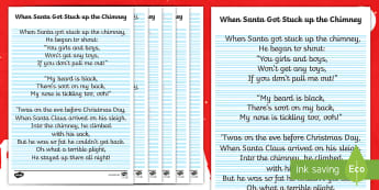 When Santa Got Stuck Up the Chimney Handwriting Practice Worksheet / Activity Sheet - Letter Formation, Pencil Control, Pen Control, Christmas Song, Cursive