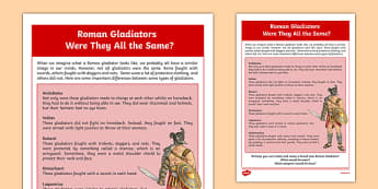 The Romans Different Types of Gladiators - Social studies, history, past, Romans, gladiators, weapons, outfits