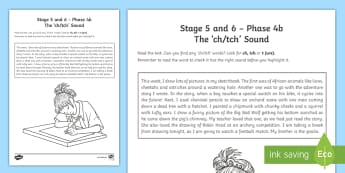 Northern Ireland Linguistic Phonics Stage 5 and 6, Phase 4b, 'ch, tch' Text Activity Sheet - NI, Linguistic Phonics, Stage 5, Stage 6, Phase 4b, Northern Ireland, 'tch' sound, 'ch' sound,