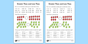 Greater Than and Less Than Worksheets (Differentiated) - greater than and less than worksheets, greater than and less than, comparing numbers, greater and less