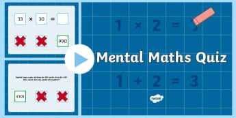 KS2 Mental Maths Quiz - KS2, key stage 2, mental maths, maths, maths quiz, numeracy, numeracy quiz, KS2 maths, maths games, maths activities, games