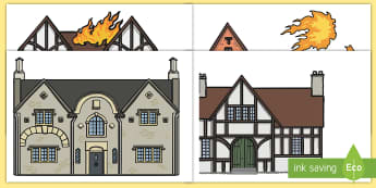 The Great Fire of London Houses Display Cut-Outs - tudor houses, 1666, house, fire, display, London,