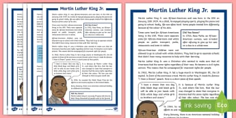 KS2 Martin Luther King Jr. Differentiated Fact File - civil rights movement, significant individuals, american, african american, bus boycott