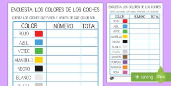 Ficha de actividad: Encuesta - El color de los coches - encuesta del color de coches, coche, coches, colores, color, encuesta, contar, cuenta, análisis, da