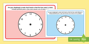 O'Clock, Half Past and Quarter Past Time Playdough Mats English/Romanian - time, o'clock, half past, quarter past, EAL