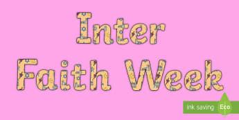 Inter Faith Week Display Lettering - religion, community, together, KS1, KS2, EYFS