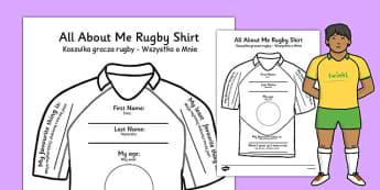 All About Me Rugby Shirt Worksheet Polish Translation - polish