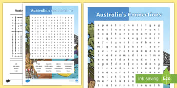 Australia's Connections Word Search -  Geography, vocabulary, word recognition, metalanguage, spelling,Australia, heritage, history, works