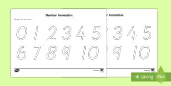 Australia - Number Formation Worksheet / Activity Sheet 0-10 - number, formation, writing aid, numeracy, numbers, number formation, 0-10, overwriting