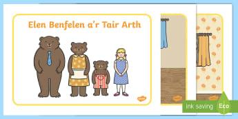 Elen Benfelen a'r Tair Arth  Cardiau Trefnu Stori-Welsh - elen ben felen,, trefni stori, Elen Benfelen a'r Tri Arth, Cymraeg, iaith, llythrennedd,Welsh