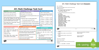 Year 4 AFL Math Challenge  Activity Sheet - ACMNA071, ACMNA076, ACMNA082, ACMSP096, ACMMG086, worksheet, Maths Challenge, Maths Challenge Card,