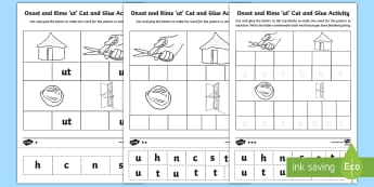 'ut' Onset and Rime Differentiated Activity Sheets - EYLF, Literacy, phonological awareness, onset and rime, cvc words, english, kindergarten, pre-primar