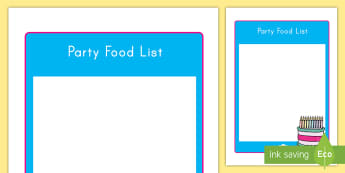 Birthday Party Food List Editable Form - birthday, food, list, editable, party, writing, display, organisation, celebration