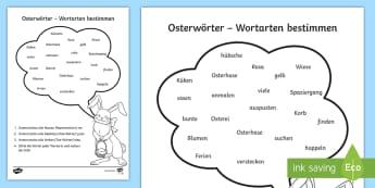 Osterwörter: Wortarten bestimmen Arbeitsblatt - Frühling, Ostern, Grammatik, Wortarten, Nomen, Adjektiv, verb, spring Easter, grammar, parts of spe