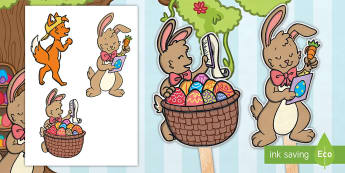 Saving Easter Stick Puppets - Children's Books, Easter, Saving Easter, bunny, chicks, eggs,story, stories, role play