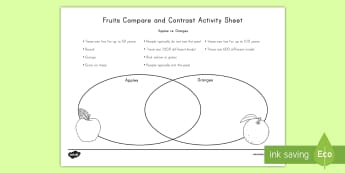 Fruit Compare and Contrast: Apples vs. Oranges Activity Sheet - similarities, differences, healthy eating, sorting, venn diagram, worksheet
