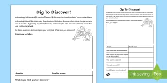 Dig To Discover: Artefact Investigation Activity Sheet - address and devise historically valid questions about significance, construct informed responses, hi