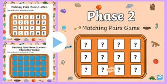Matching Pairs Phase 2  PowerPoint - Memory Game, Letters and Sounds, letters and sounds resources, free letters and sounds resources, ph