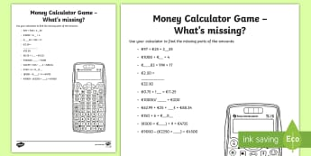 Money Calculator Game What's Missing Activity Sheet - money, measures, calculator games, calculation, maths operations, mental maths, activity sheets,Iris
