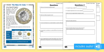 UKS2 The New £1 Coin Tricky Maths Go Respond  Activity Sheets  - new £1, £1, pound, pound coin, coin, £1 coin, coins, new coin, geometry, triangles, angles, radiu