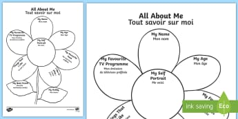 All About Me Flower Activity Sheet English/French - Ourselves, All about me, family, Ks1, Y1, Year 1, EYFS, Reception, Growing, growth, flower, plant, p