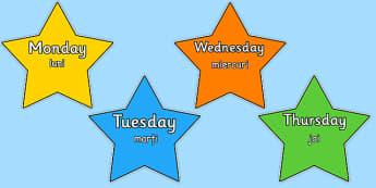 Multicoloured Stars Days of the Week Romanian Translation - romanian, stars, days, week