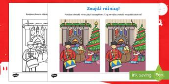 Karta Znajdź różnicę Zabawki - zabawki, prezenty, święta, gwiazdka, gwiazdkowe, bożonarodzeniowy. dziadek do orzechów, czerwony