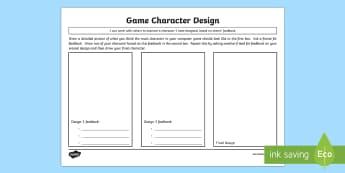 Character Design Activity Sheet - CfE TechnologiesCharacter designActing on feedbackGame design characterCraft, design, engineering an