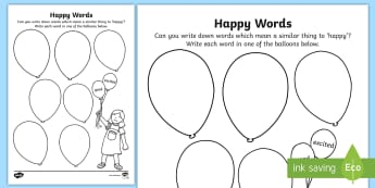 Happy Words Activity Sheet - young people, pressure, relationships, behaviour, emotions, worksheet
