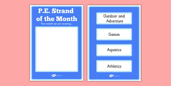 Strand of the Month Display Poster - active school, active flag, blue flag, PE, sport, strand, strand unit, noticeboard