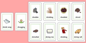 Two Syllable SHR Playing Cards - speech sounds, phonology, articulation, speech therapy, cluster reduction
