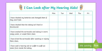 Looking After My Hearing Aid Checklist - audiology, Listening, deaf, Hearing, Target sheet, look after hearing aid