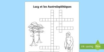 Grille de mots croisés : Lucy et les australopithèques - préhistoire, prehistory, le paléolithique, évolution de l'homme, Human evolution, hominidé, cyc